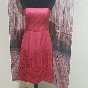 🔖2/$15 Loft strapless red dress with embroidery